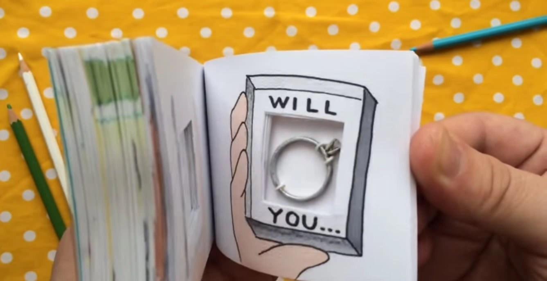 Adorável Pedido De Casamento Com Livro Animado Poésie