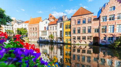 Brightly colourful houses in Ghent