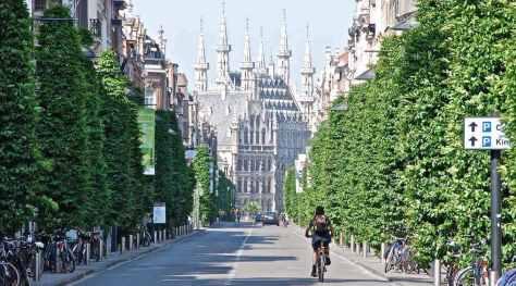 Cycling along Leuven streets