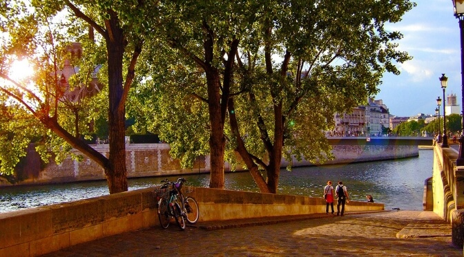 Walking along the River Seine in Paris