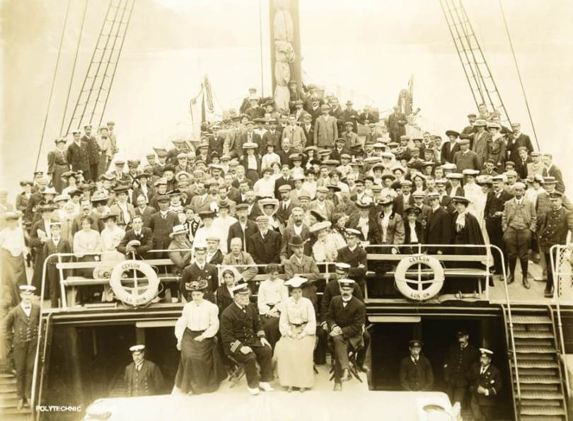 People on board a P&O ship in the 1900s
