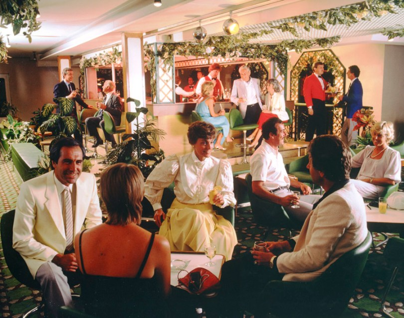 People relaxing on a P&O ship in the 1980s
