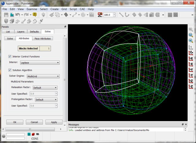 Laplce control function in the Grid Solve panel.
