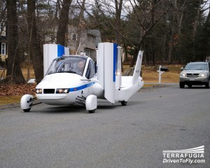 The Transition from Terrafugia shown here as a driving aircraft as opposed to a flying car.