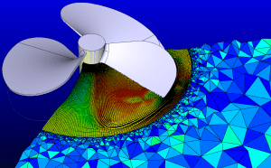 Starting with a CATIA model (gray) in Pointwise, an unstructured surface mesh was generated and exported to GridPro for use as geometry. GridPro created a structured, multi-block hex grid near the blades, which was exported back to Pointwise for addition of the outer unstructured mesh.