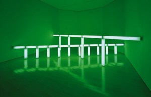 Dan Flavin, greens crossing greens (to piet mondrian who lacked green), 1966