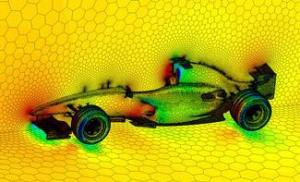 This image id described by The Secrets of Sciences as a Fluent solution on a polyhedral mesh for a Formula 1 car.