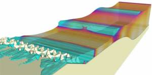Coastal breakwater simulation by FLOW-3D with visualization by FlowSight. Image from Flow Science.