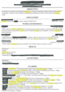 The world's worst resume. Yellow highlights indicate spelling errors.