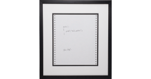 Brian Kernighan, Hello World, ink on dot matrix paper. Image from Artsy.net. Click image for site.