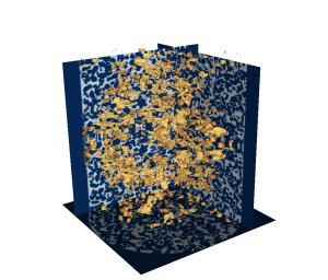 The behavior of oil ganglia (yellow) can be observed as they are mobilized in an experimentally-imaged sandstone (the solid part of the sandstone is shown in blue). Image and caption from ORNL. See link above.