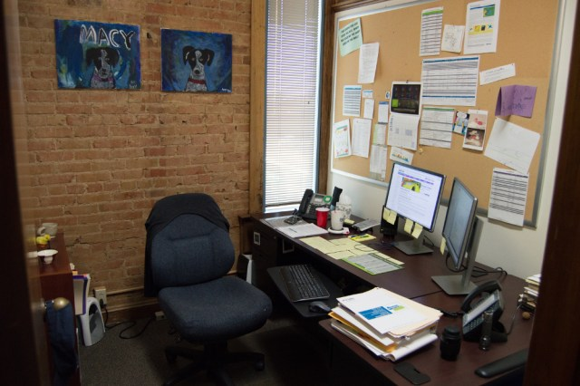 Andrea's current workspace.