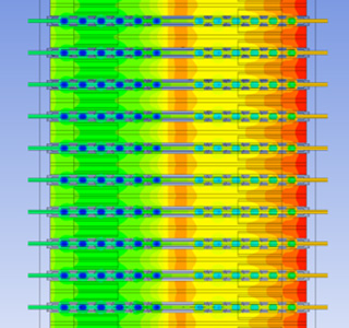ANSYS CFD simulation of lithium-ion batteries. Image from ANSYS. Click image for article.