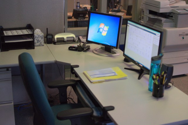 Carrie's current workspace.