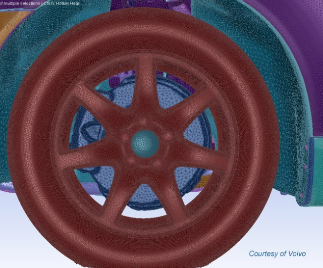 This surface mesh was generated by Volvo using ANSYS 17.0's automatic scripting capabilities. Image by Volvo from ANSYS. See link above.