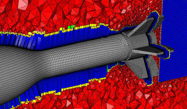 Quad dominant surface mesh with hex cells generated using T-Rex.