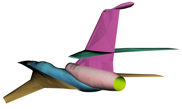 A quad-dominant surface mesh on the C25D flow through nacelle test case for the 2nd AIAA Sonic Boom Prediction Workshop.