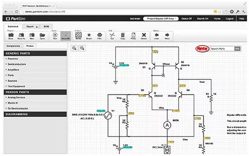 electronic circuits simulator