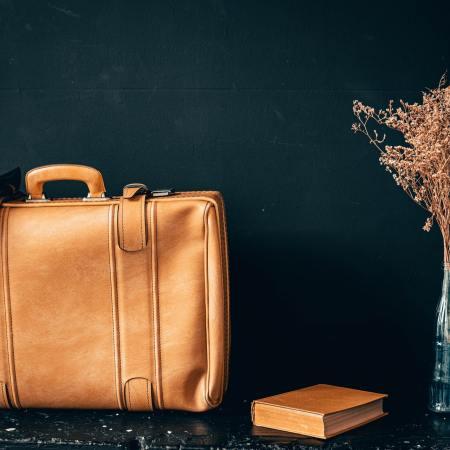 Yellow handbag on a black table