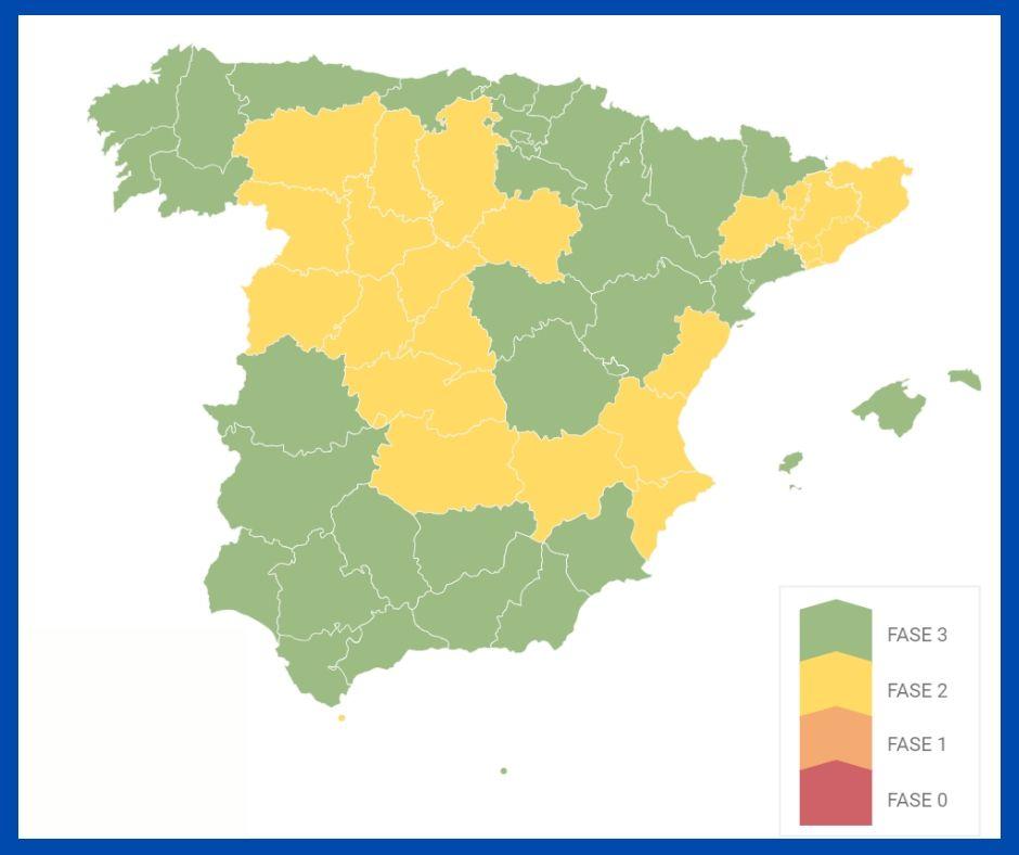 Mapa sobre movilidad en España fase 3