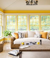 Bright Pops of Color in Living Room