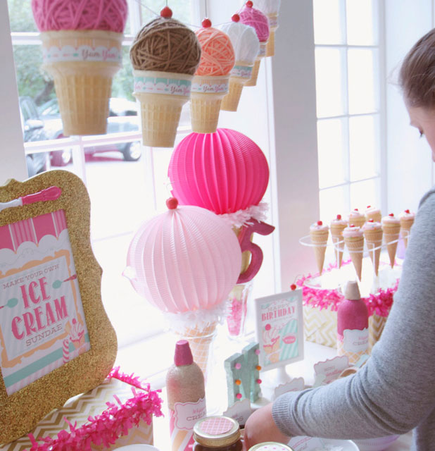 Jenn's styling assistant, Alyssa, puts together the sundae-making station.