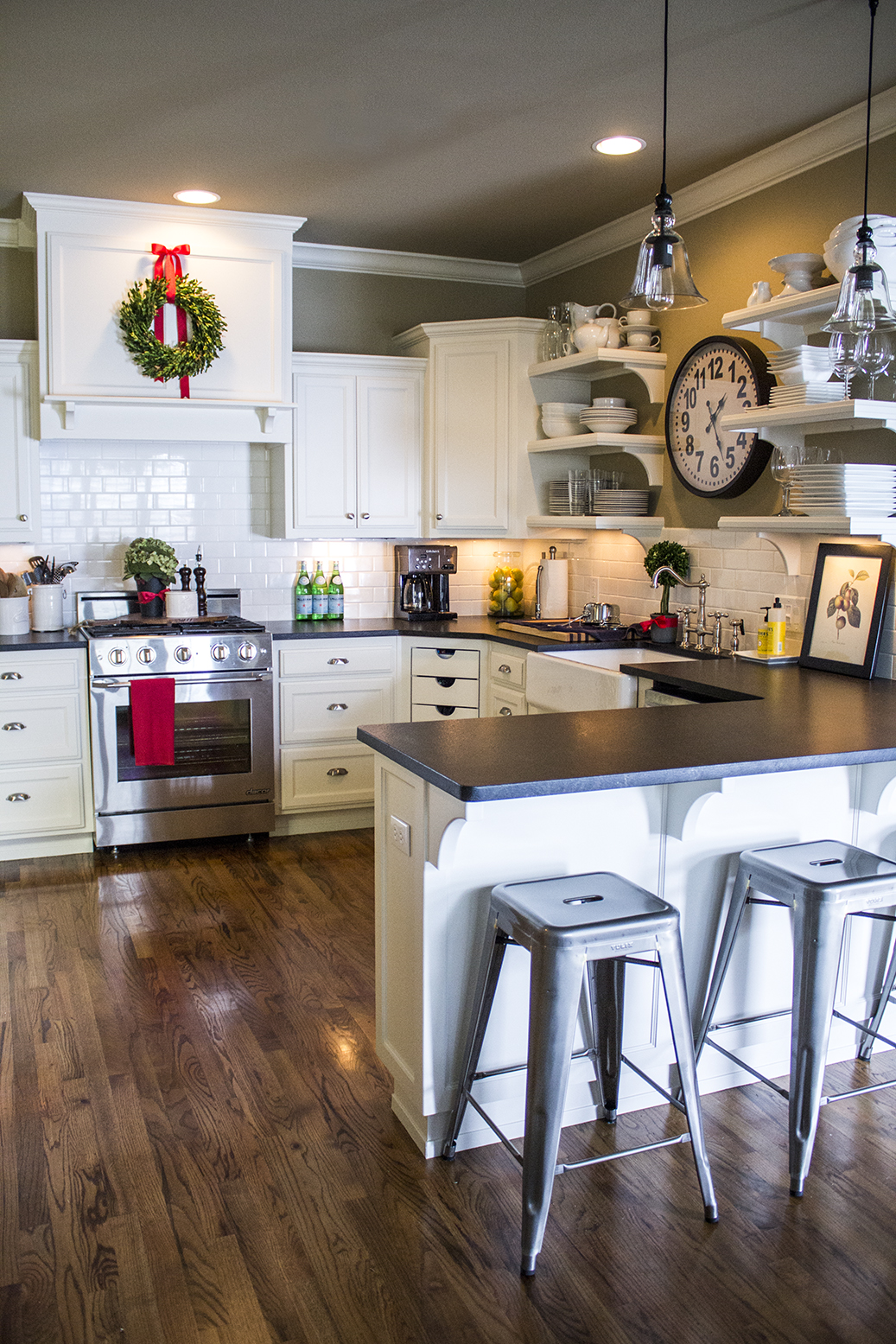 monogrammed kitchen towels stool holiday home tour: classic christmas decor