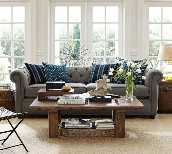Pottery Barn Living Rooms with Grey Sofa