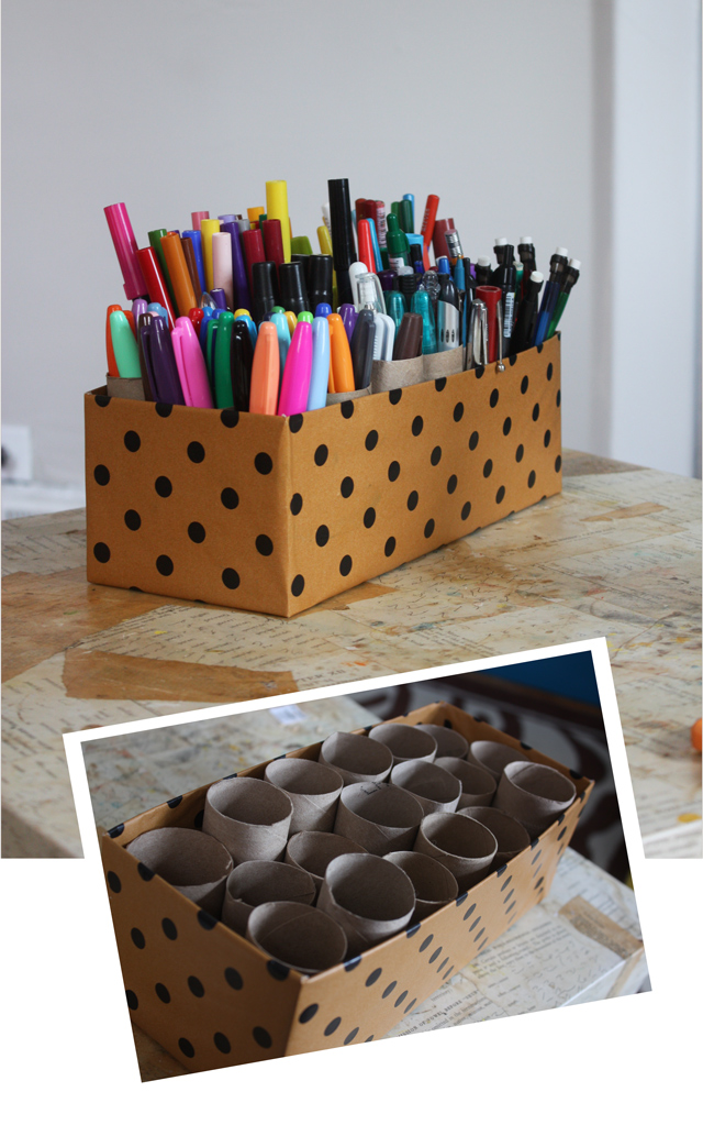 cute way to organize pens on your desk