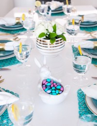 Turquoise and White Easter Lunch Table Setting