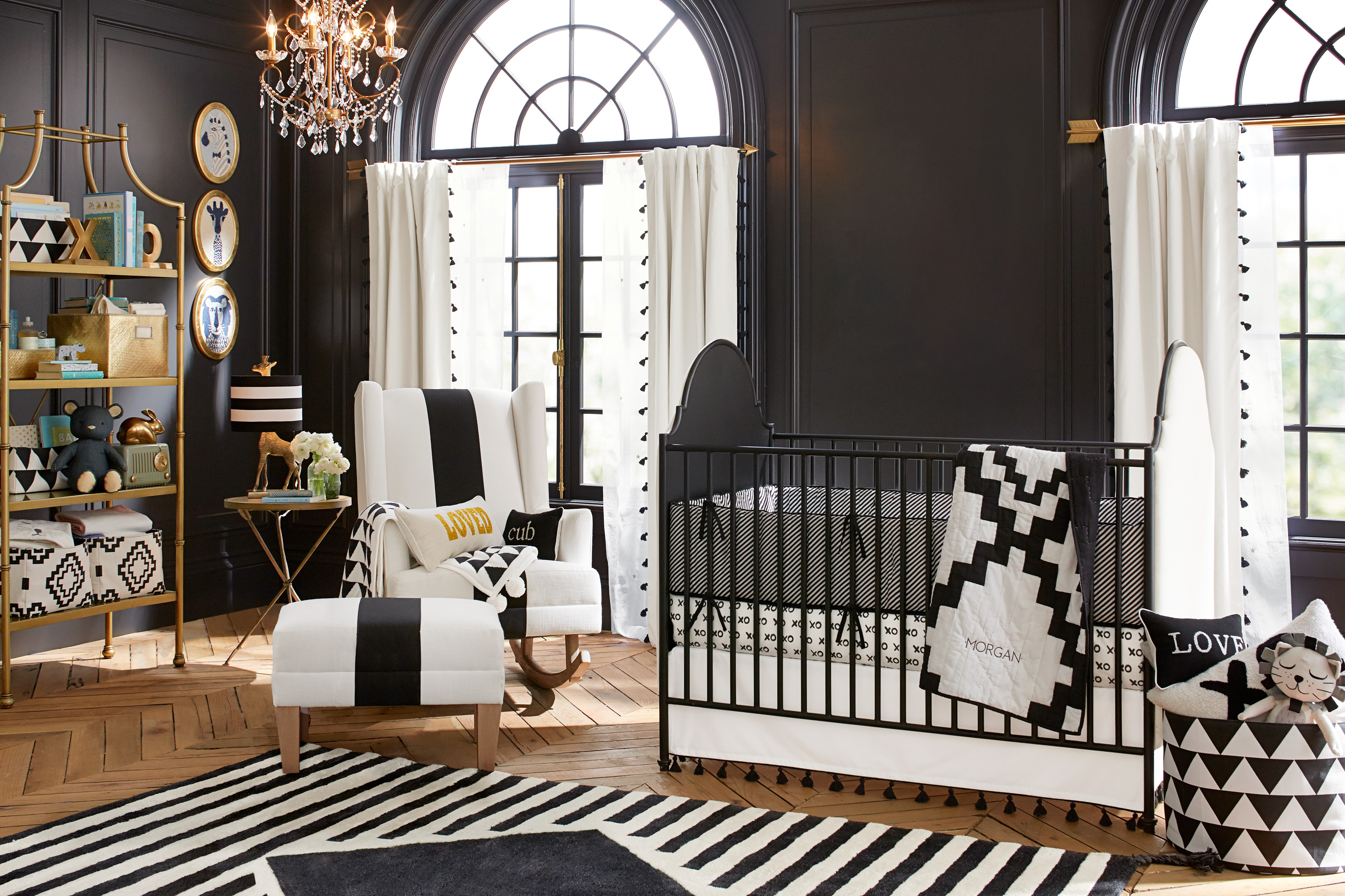 Baby cribs pottery barn - The Crib Is Styled With The Tassel Crib Skirt Xoxo Crib Fitted Sheet Diamond Toddler Quilt And Candy Stripe Bumper Rounding Out The Room Is The Diamond
