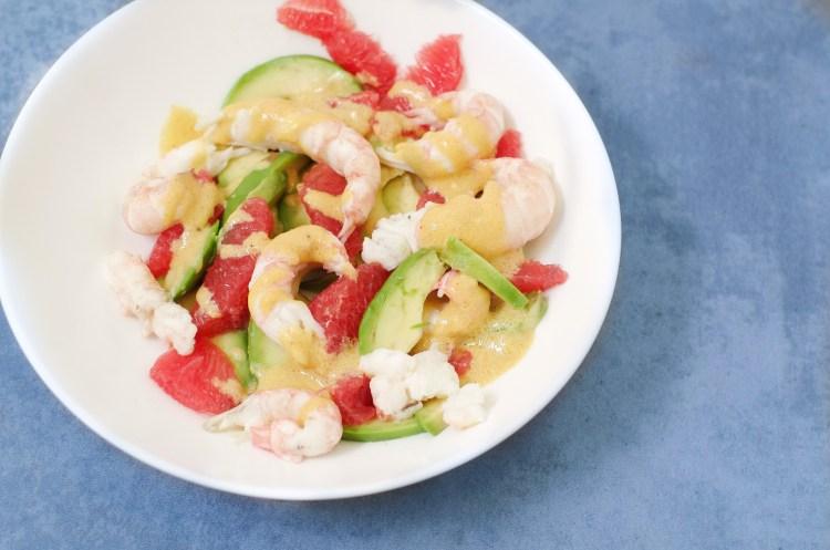 Salade de langoustines, avocat et pamplemousse