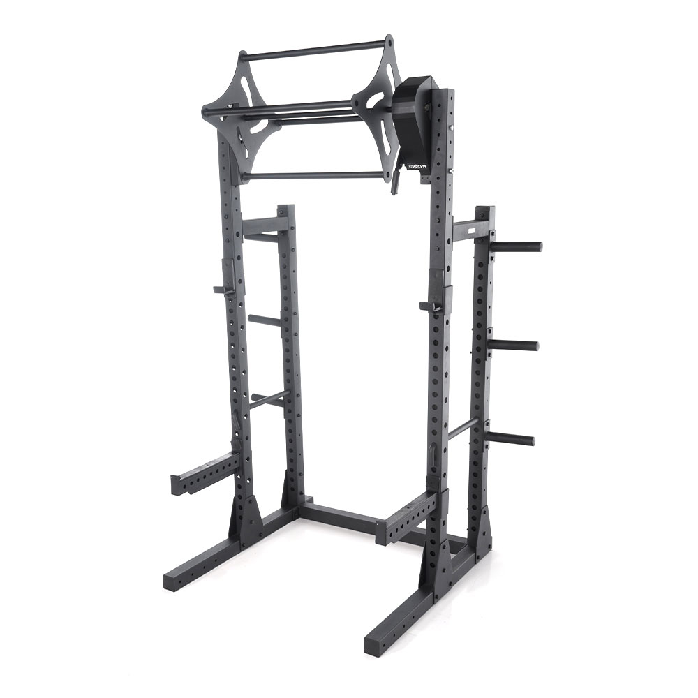 Add more versatility by attaching the Revolver to our Granite Half Squat Rack.