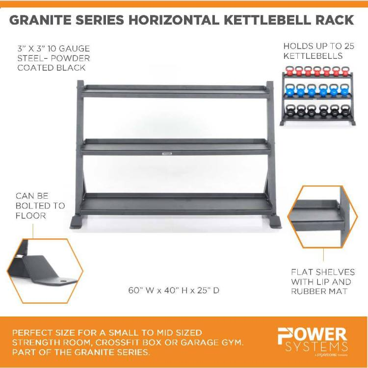 "Granite Series Horizontal Kettlebell Rack. Perfect size for a small to mid sized strength room, crossfit box or garage gym. Part of the Granite Series. 3"" x 3"" 10 gauge steel-powder coated black. Holds up to 25 kettlebells. Can be bolted to floor. Flat shelves with lip and rubber mat. 60""W x 40""H x 25""D"