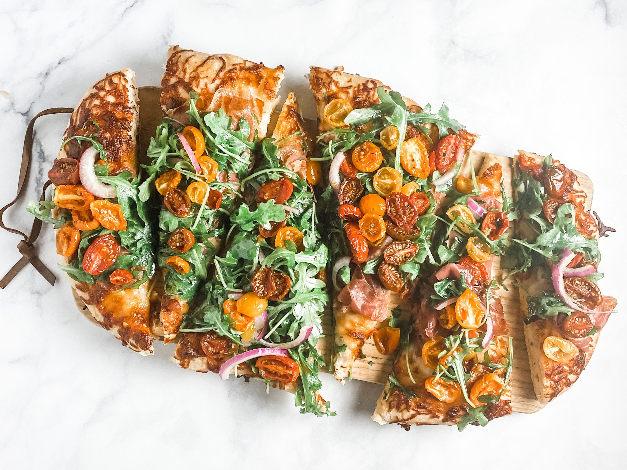 Pregistry's Friday Recipe: Salad Pizza with Oven Roasted Tomatoes