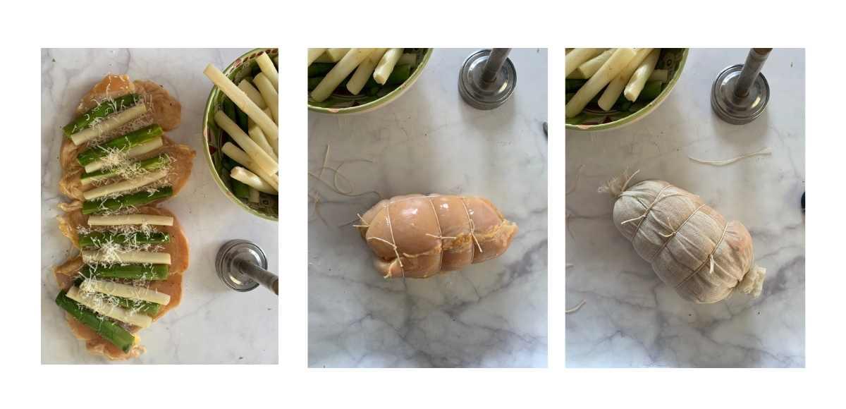 ricetta filmata del rotolo di pollo con asparagi di badoere