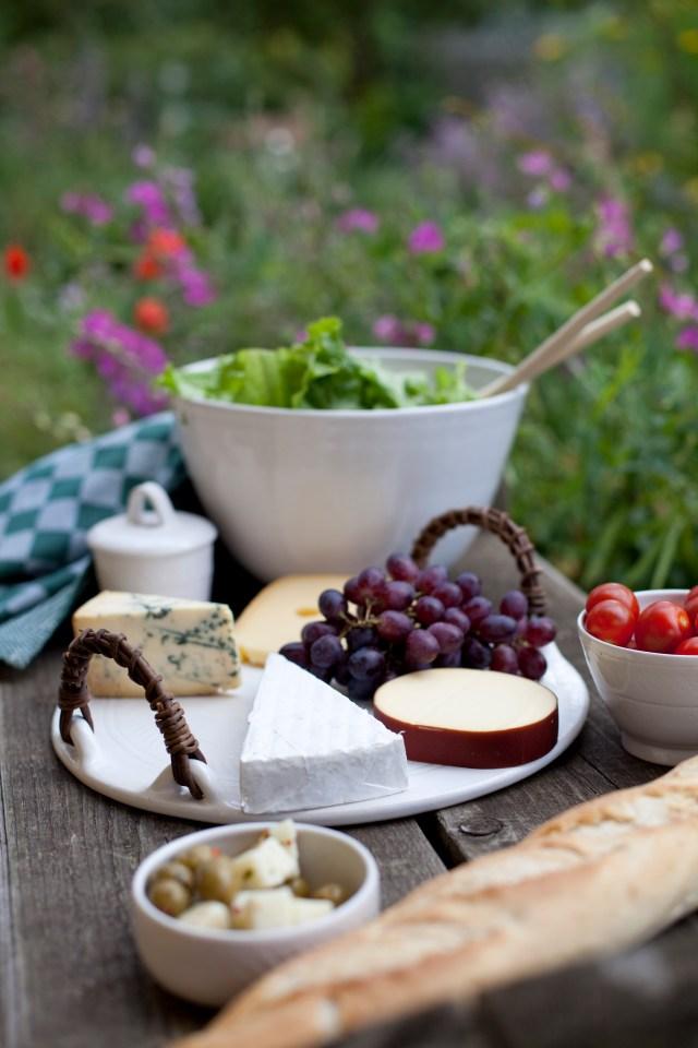 Cheese tray, salad bowl, jam pot, creme brulee pot. Stoneware, wheel thrown, akebia handles, white glaze.
