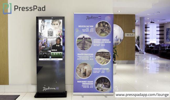 Venue Marketing, PressPad Lounge at Radisson Blu