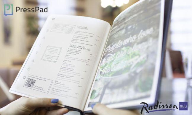 Menu at Radisson wih PressPad lounge qrcode