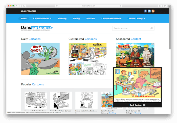 Screenshot of danscartoons.com