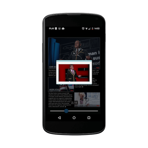 Nexus4 with magazine app from PressPad - video player in action