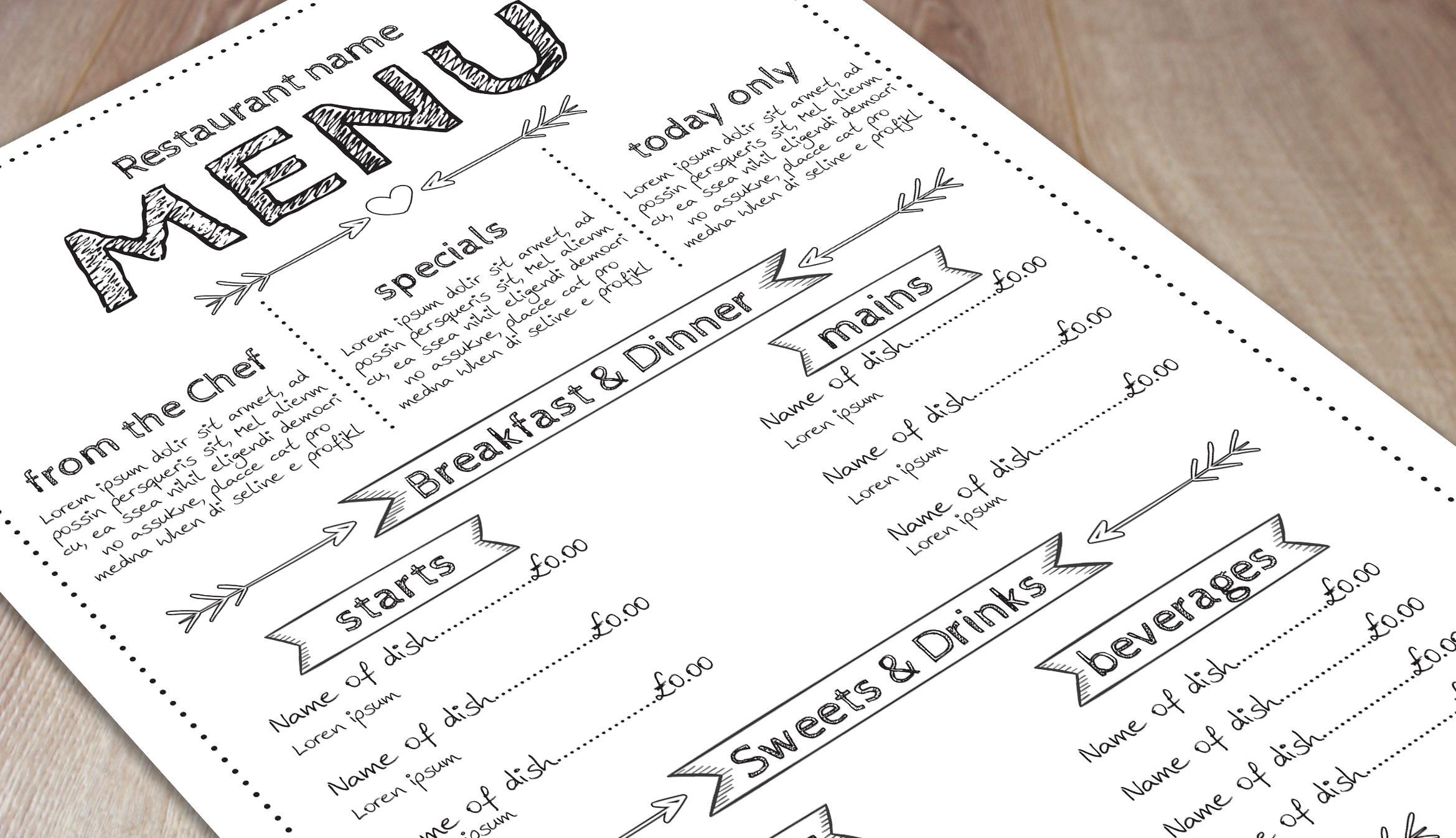 menu format template free