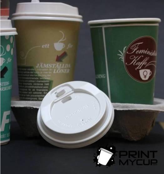Creative Coffee Cup Design Feministiskt Initiativ 4 www.printmycup.com custom printed coffee cups