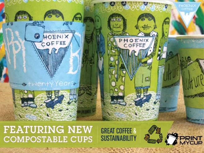 Phoenix Coffee3 Custom printed coffee Cups www.printmycup.com