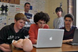 High school students learn CPR online.