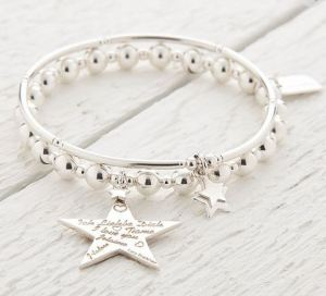 Cephei Silver Star Bracelet Set Of Two