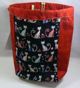 Drawstring Knitting Bag (Cat)