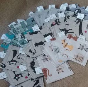 Fabric Cat Themed Coasters