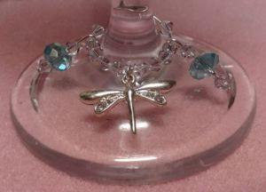 Dragonfly wine glass charm