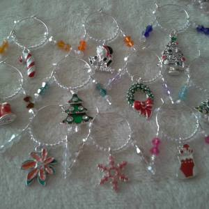 christmas wine glass charms - charms by joanna